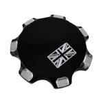 JOKER Machine Billet Alloy Gas Cap: UNION Flag. Bonneville/T100/Thruxton/Scrambler. BLACK BW06-014b